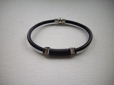 5mm Black Leather Bracelet with Black Rubber by DesignsbyPattiLynn