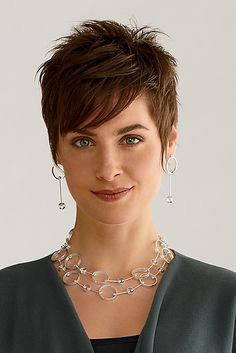 LOVE the hair style and color! Barbell: Jennifer Chin: Silver Jewelry - Artful Home Short Grey Hair, Short Hair With Layers, Short Hair Cuts For Women, Short Hairstyles For Women, Short Hair Styles, Pixie Haircut For Thick Hair, Short Pixie Haircuts, Messy Pixie, Haircut Long