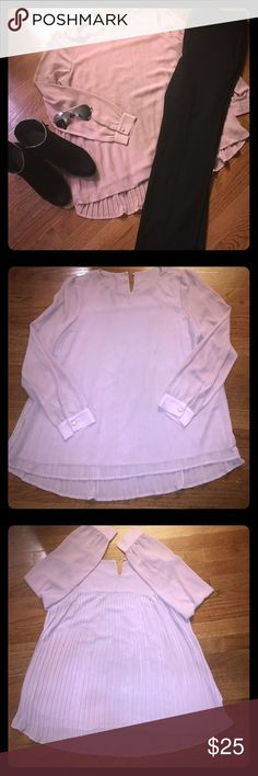 Blush Pink Chiffon Babydoll Blouse Pleated Back- L Blush Pink Chiffon Babydoll Blouse Pleated Back. Size Large. This cute shirt can be paired with dress pants like my NWT Vince Camuto Dress Pants or my Calvin Klein Dress Pants, both available in my closet! This shirt has a small keyhole back with a button closure. Can be dressed up or down. Can also be paired with jeans or Rhinestone heels available in my closet. Any questions or need more pictures, please let me know! Tops Blouses