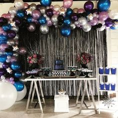 It was a busy weekend to say the least, and this Galaxy Party was out of this world 😜 Event Planning: Balloon Garland: Wild One Birthday Party, 10th Birthday Parties, 16th Birthday, Birthday Party Decorations, Galaxy Balloons, Space Party, Sleepover Party, Balloon Garland, Birthday Balloons