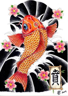 Japanese Koi Fish n Flowers Tattoo Design