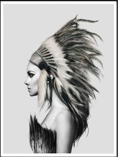 Wall Art -  Headdress 2 by Linn Wold print on Canvas (A-53)