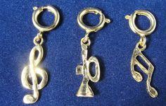3 Vintage Bracelet Charms Gold Music Note Clef Horn Lot Set #Unbranded