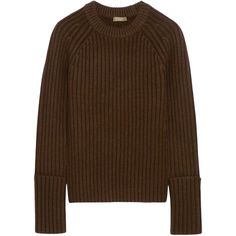 Michael Kors Collection Ribbed merino wool-blend sweater ($1,295) ❤ liked on Polyvore featuring tops, sweaters, chocolate, merino top, rib sweater, chunky sweater, polka dot sweater and brown polka dot sweater
