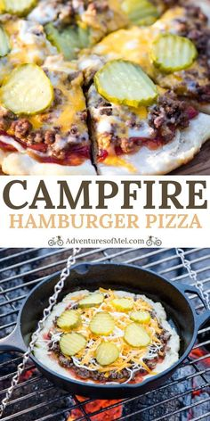 How to make the best homemade hamburger pizza on a campfire. Easy campfire pizza with ketchup, mustard, and pickles, cooked in a cast iron skillet. meals easy Hamburger Pizza on a Campfire - Adventures of Mel Hamburger Pizza, Ketchup, Campfire Pizza, Campfire Desserts, Easy Campfire Recipes, Camping Appetizers, Campfire Breakfast, Campfire Games, Homemade Hamburgers