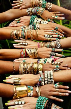 Layered hippie jewelry, stacked boho bracelets. Bohemian fashion