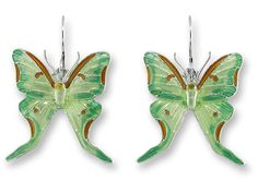 Zarah TIGER SWALLOWTAIL Butterfly PIN Silver Plated Enamel Brooch Gift Boxed