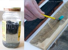 "great tutorial on how to age wood @Linda Gardner - used this to add ""aged wood"" to the top of my wine rack!"