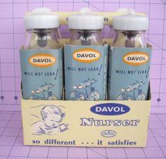 Vintage Davol glass baby bottles.