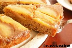 apple cake with caramel glaze baked upside down. Perfect Fall recipe and easy to make.
