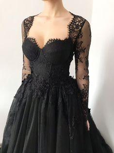 Black Wedding Gowns, Open Back Wedding Dress, Goth Wedding Dresses, Hoco Dresses, Ball Dresses, Lace Wedding, Alternative Bride, Alternative Dresses, Floral Lace Dress