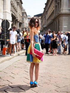 A crochet dress. This would be perfect in spring and summer. I'm loving the bright colors.