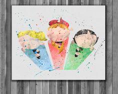 Powerpuff Girls watercolor Printable poster by digitalaquamarine
