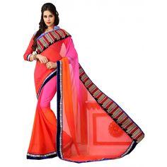 Designer Party Wear Pink & Orange Saree-H09(ST-JHALAK)