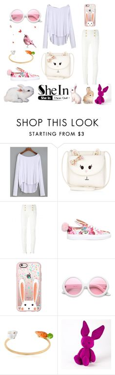 """bunny me"" by fashionshelter ❤ liked on Polyvore featuring Monsoon, Balmain, Minna Parikka, Casetify, ZeroUV, Nach, Jellycat, Bunny, PinkWhite and shein"