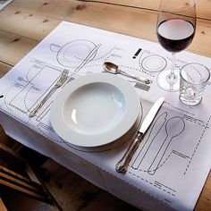 Setting a table.