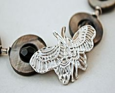 Precious Metal Clay Butterfly | PMC butterfly necklace by Marilyn Davenport