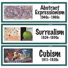 Art Styles Display Cards - 32 cards with styles and at least one artistic example