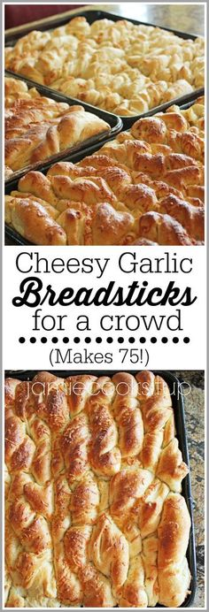 Cheesy Garlic Breadsticks for a Crowd (Makes 75!) from Jamie Cooks It Up!
