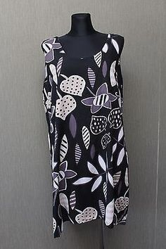 Gudrun Sjöden Kleid Tunika XL dress Viscose schwarz beige AK22