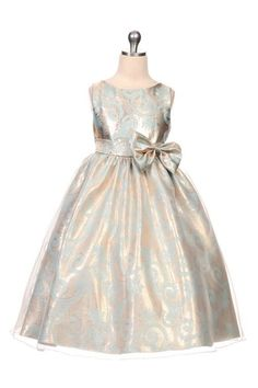 Girls Aqua-Copper Organza Overylay Jacquard Dress, Sizes 2-12 - Style 350 - Alyssa's Garden Boutique for Little Girls  - 1
