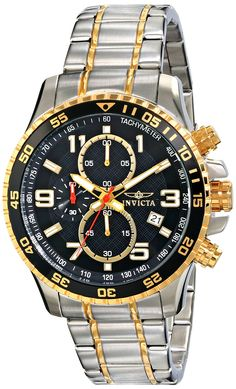 Invicta Men's 14876 Specialty Chronograph Black Textured Dial Two Tone Stainless Steel Watch