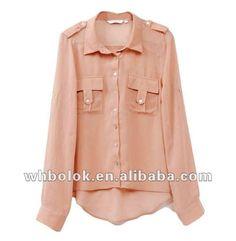señora camisa de manga larga de gasa de material para 2012 nuevo estilo