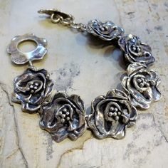 Organic rose bracelet in sterling silver. From Ellishshop on Etsy.