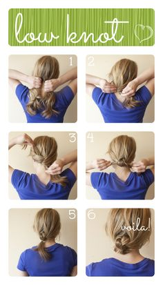 Easy quick low knot updo tutorial pictorial. Easier to do with wet hair.