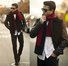 Jacket, Ray Ban Rayban, Boots - Scarlet  - Adam Gallagher