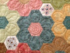 The Vignette Hexagon Quilt: Quilting Finished! Binding to Go! A closeup of this lovely quilt