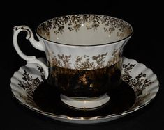 ROYAL ALBERT, Bone China, Teacup, and saucer, Regal Series, Black and Gold, Gold Rimmed, England, Vintage, Black Tea Cup
