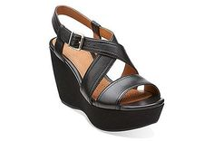73183ff3ad5 Nadene Ziva Black Leather Black Wedge Sandals
