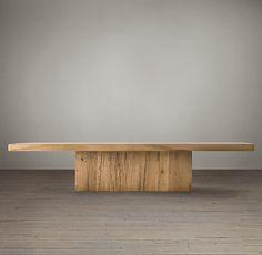 "Reclaimed Russian Oak Plinth Coffee Table Restoration Hardware 36""sq   55 x32  68x43 14""h price 1610-2495"