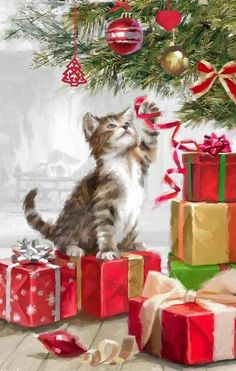"""Christmas """"Kitten With Ribbon"""" by Art Licensing Christmas Scenes, Noel Christmas, Vintage Christmas Cards, Christmas Pictures, Christmas Greetings, Winter Christmas, Christmas Ornaments, English Christmas, Christmas Thoughts"""
