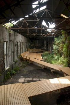 paradis express: Taipei City, Shihlin paper ruined factory - good space, reading and web area Urban Landscape, Landscape Design, Landscaping Around House, Temporary Structures, Space Architecture, Factory Architecture, Industrial Architecture, Adaptive Reuse, Abandoned Places