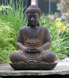 statue de jardin zen simili métal patiné- Bouddha en position du Lotus