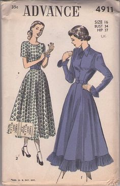 Advance 4911 Vintage 40's Sewing Pattern BEAUTIFUL New Look Era Fancy Gored Flared Skirt Shirtwaist Day Dress, Ruffled Crystal Pleated Cuffs & Hem Party Dress #MOMSPatterns