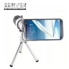 SSRIVER for Samsung Galaxy Note2 N7100 12X Optical Zoom Telescope Camera Lens+Tripod +Back Case Cover Phone 12X Zoom Lens