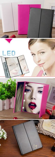 LED Lighted Makeup Folding Mirror