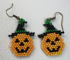 Halloween Pumpkin earrings with beads Beadwork by Mulinka on Etsy