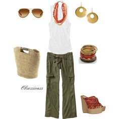 "Love this look; olive green on bottom which is where i always wear that color because up close to my face it washes me out, but I love to accessorize with olive pants as the creator ""obsessionss"" did with this, adding a pop of orange. She is one of my fav creators on Polyvore:)"