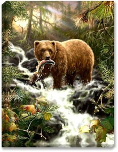 Glow Decor - Grizzly Gorge - Illuminated Fine Art by Dona Gelsinger - 1