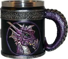 Purple Dragon mug, resin with stainless insert, is an excellent vessel for your favorite beverage. Rustproof, your dragon will be ready to guard your drink with watchful eye.