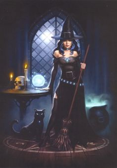 Witch and black cat greeting card, also suitable for Halloween, by artist James Ryman. Fantasy Witch, Gothic Fantasy Art, Fantasy Forest, Fantasy Castle, Witch Art, Fantasy Girl, Fantasy Artwork, Witch Pictures, Halloween Pictures