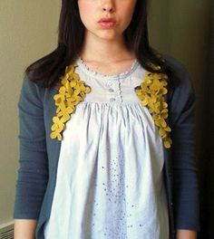 DIY Womens Clothing : 25 ways to refashion a sweater wouldnt this look really cool with clusters o