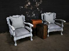 Striped Ball and Claw Set - Kings & Queens Antiques - Buy Antiques in Gauteng Chalk Paint Chairs, Chalk Paint Furniture, Cool Furniture, Furniture Design, Painted Couch, White Painted Furniture, Painted Chairs, Couch Makeover, Furniture Makeover