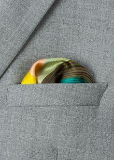 Men's signature stripe and artist stripe gradient pattern silk pocket square.