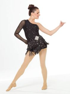 NEW! 2017 Collection Jazz & Tap Costumes: Spandex unitard with glitter and velvet flocking has a matching sleeve with finger loop, extended bike-shorts leg line, rhinestone appliques at waist and shoulder, and an attached, adjustable nude shoulder strap. Attached skirt is sequin fringe.  Includes headpiece, hanger and garment bag.