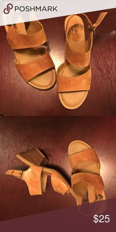 B.O.C. Leather Sandal Leather sandal in saddle brown . New Never Worn. Does have some scratches in the leather. Low heel cute! b.o.c. Shoes Sandals